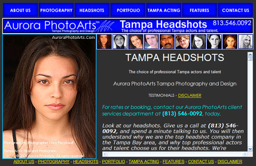 Aurora PhotoArts Huey Class photography marketing and support web site, considered to be a budget version of the Venus Class, although this is more advanced, having been in use since 2008. This is for Tampa Headshots. Although the new Mosaic Class site will replace sites like this, this particular site will remain in service for a few more years, as the Mosaic Class marketing site for our headshot photography services will be launched under a different domain name.